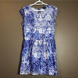 Top shop blue and white lace short sleeve dress